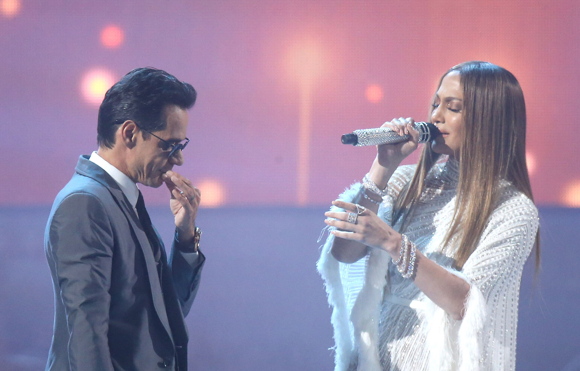 Jennifer Lopez and Marc Anthony perform onstage during the 17th Annual Latin Grammy Awards on Nov. 17, 2016.