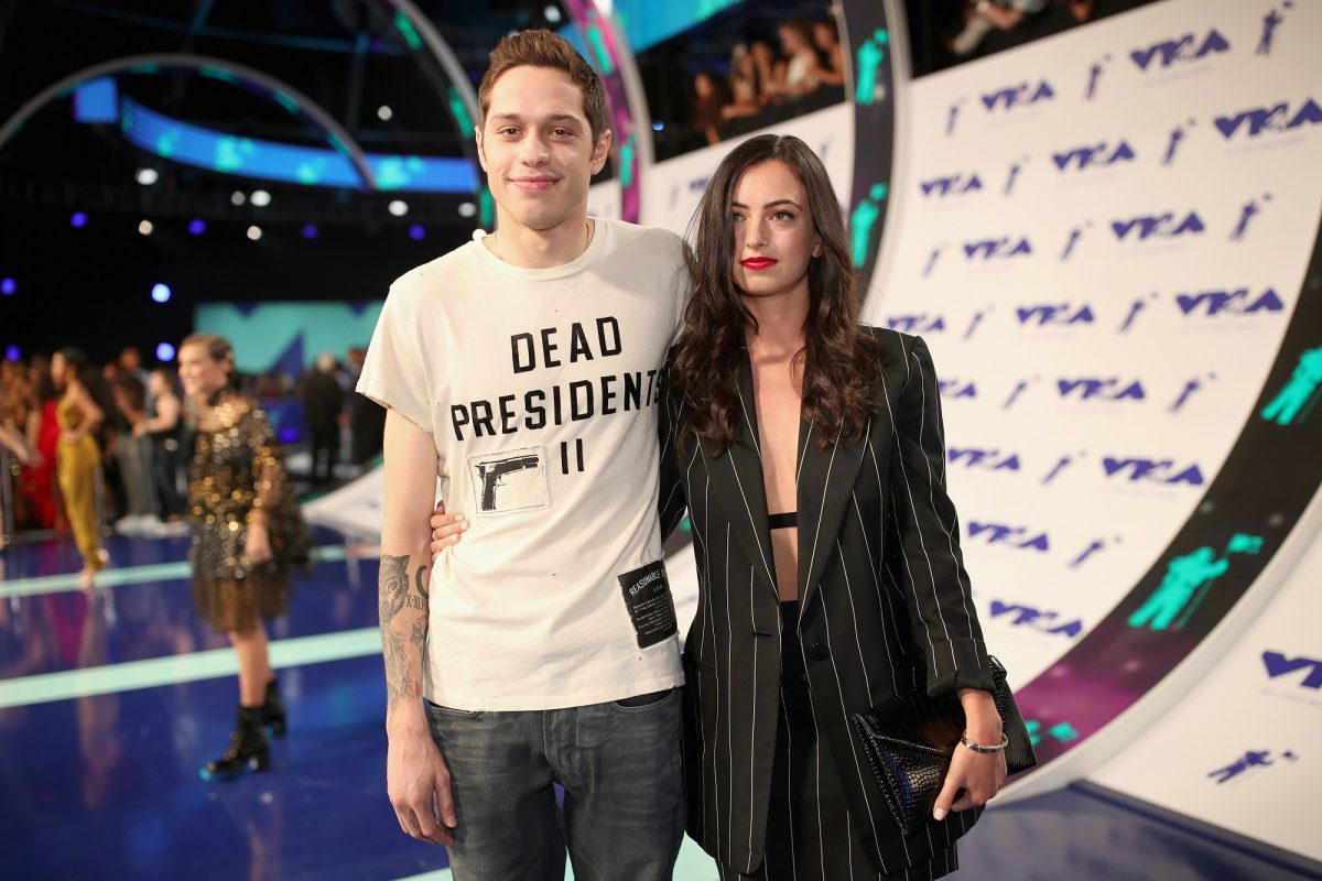 Pete Davidson (L) and Cazzie David attend the 2017 MTV Video Music Awards on August 27, 2017, in Inglewood, California.