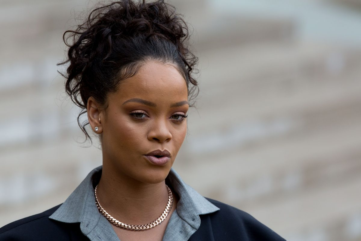 Rihanna, singer and founder of Clara Lionel Foundation, arrives to meet French President Emmanuel Macron (not pictured) on July 26, 2017