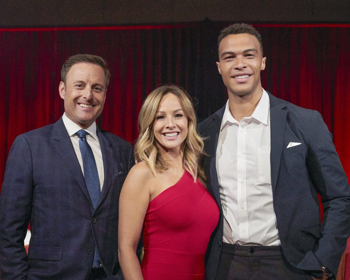 Chris Harrison, Clare Crawley, and Dale Moss pose for the camera