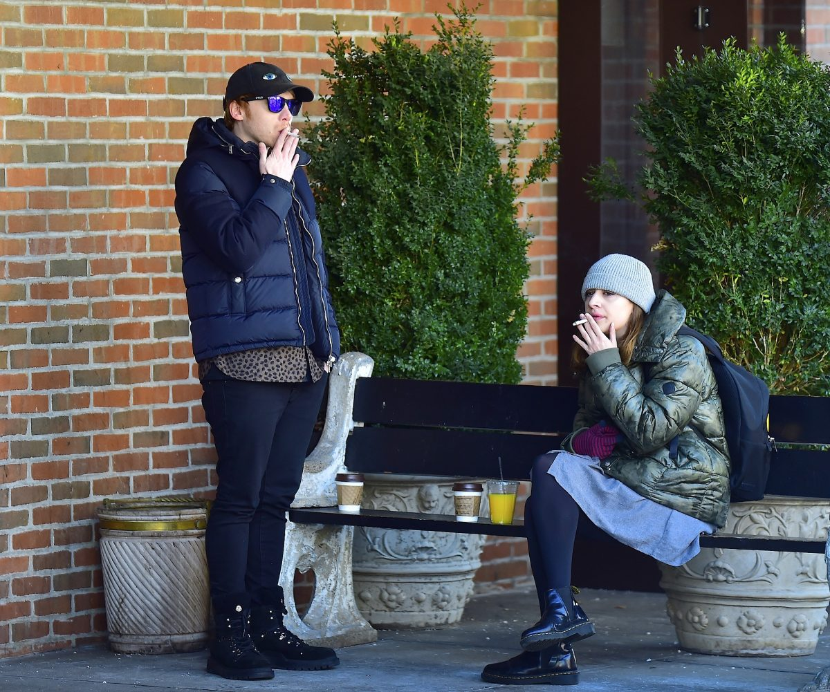 Rupert Grint and Georgia Groome are seen in Soho on March 17, 2017, in New York City.