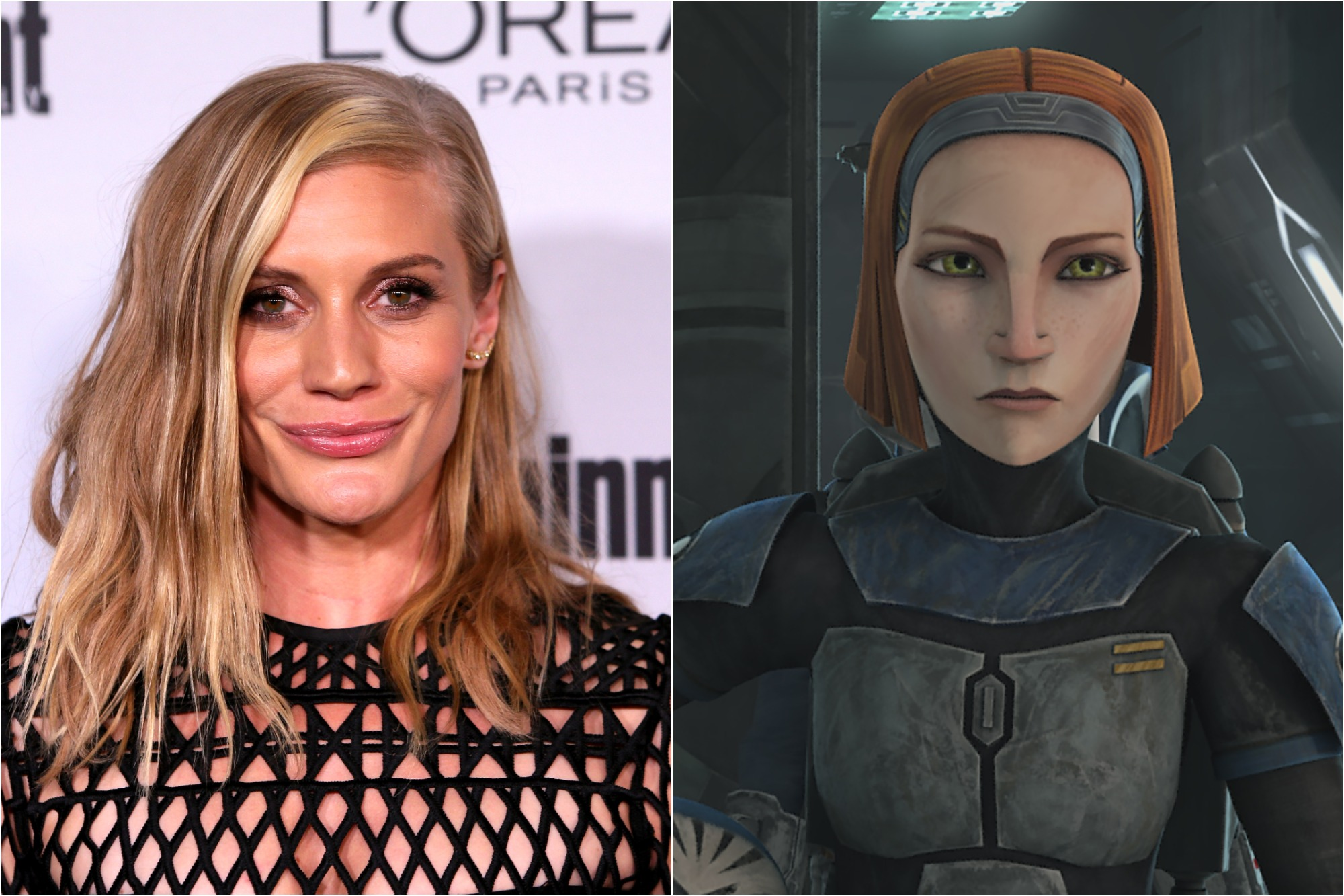 Katee Sackhoff at Entertainment Weekly's 2016 Pre-Emmy Party on Sept. 16, 2016 / Bo-Katan in Season 7 of 'Star Wars: The Clone Wars'