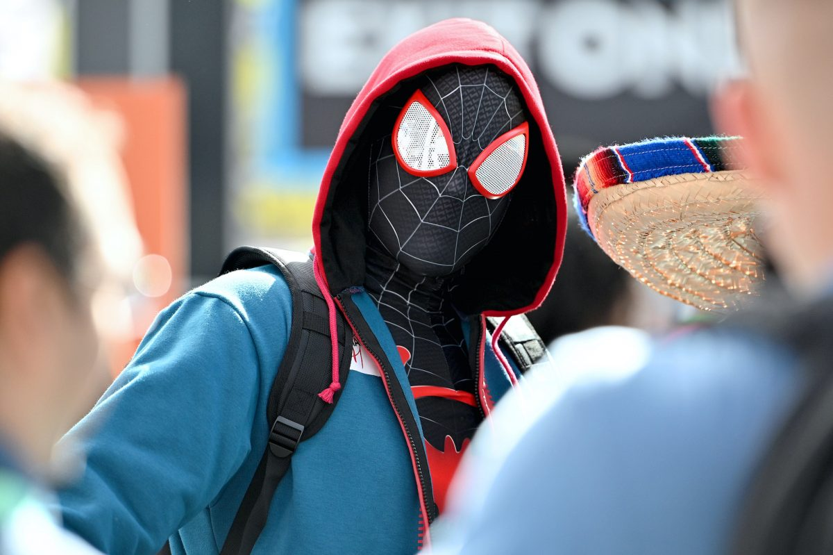 A cosplayer dressed as Miles Morales Spider-Man