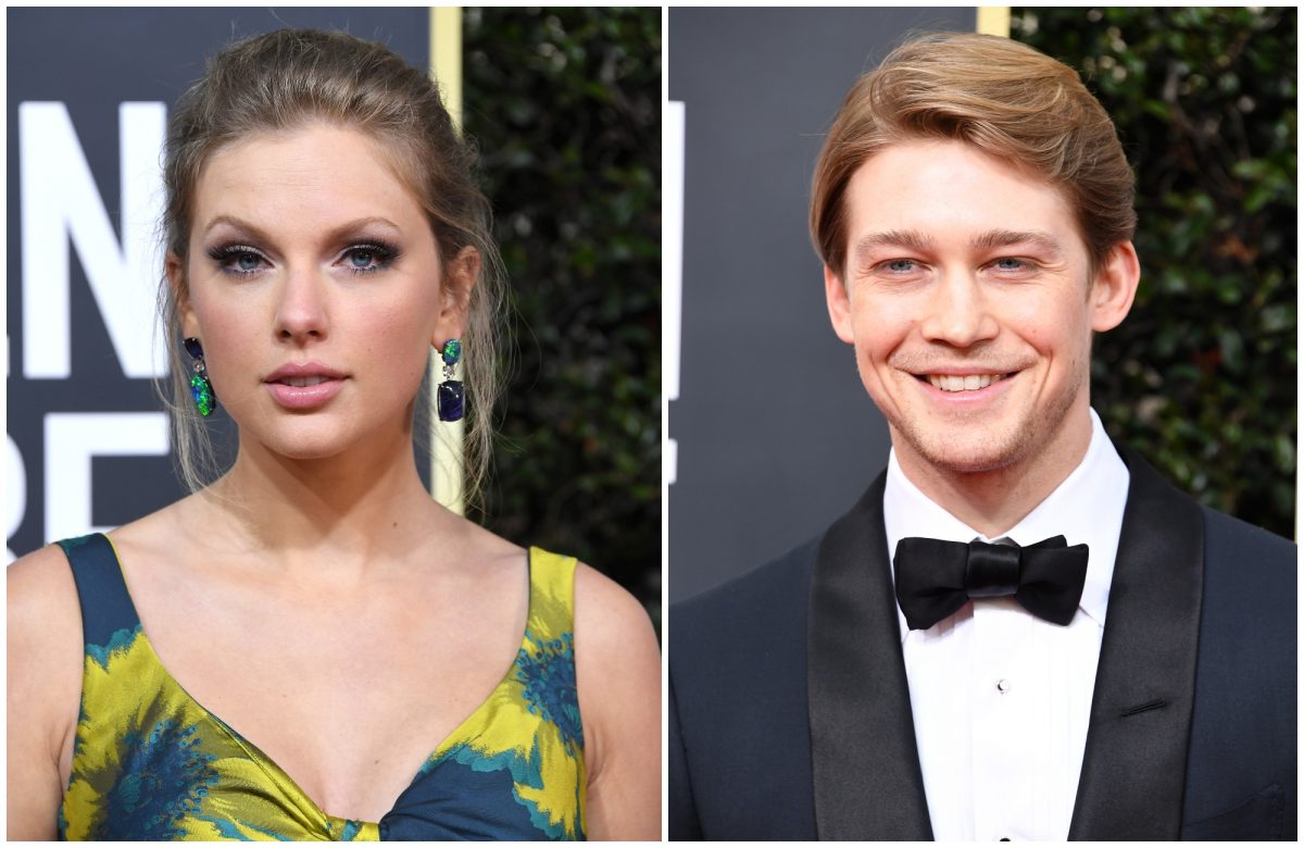 composite image of Taylor Swift and Joe Alwyn at the 2020 Golden Globe Awards