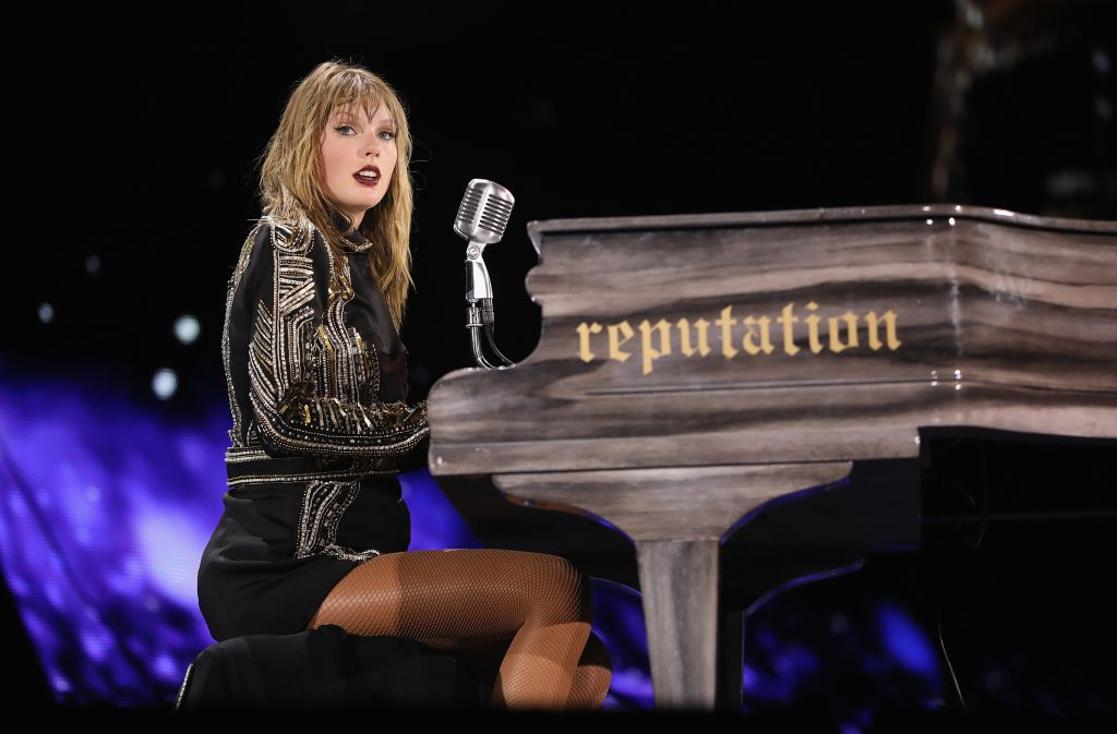 Taylor Swift performs on stage during the Reputation Stadium Tour on August 18, 2018 in Miami, Florida.