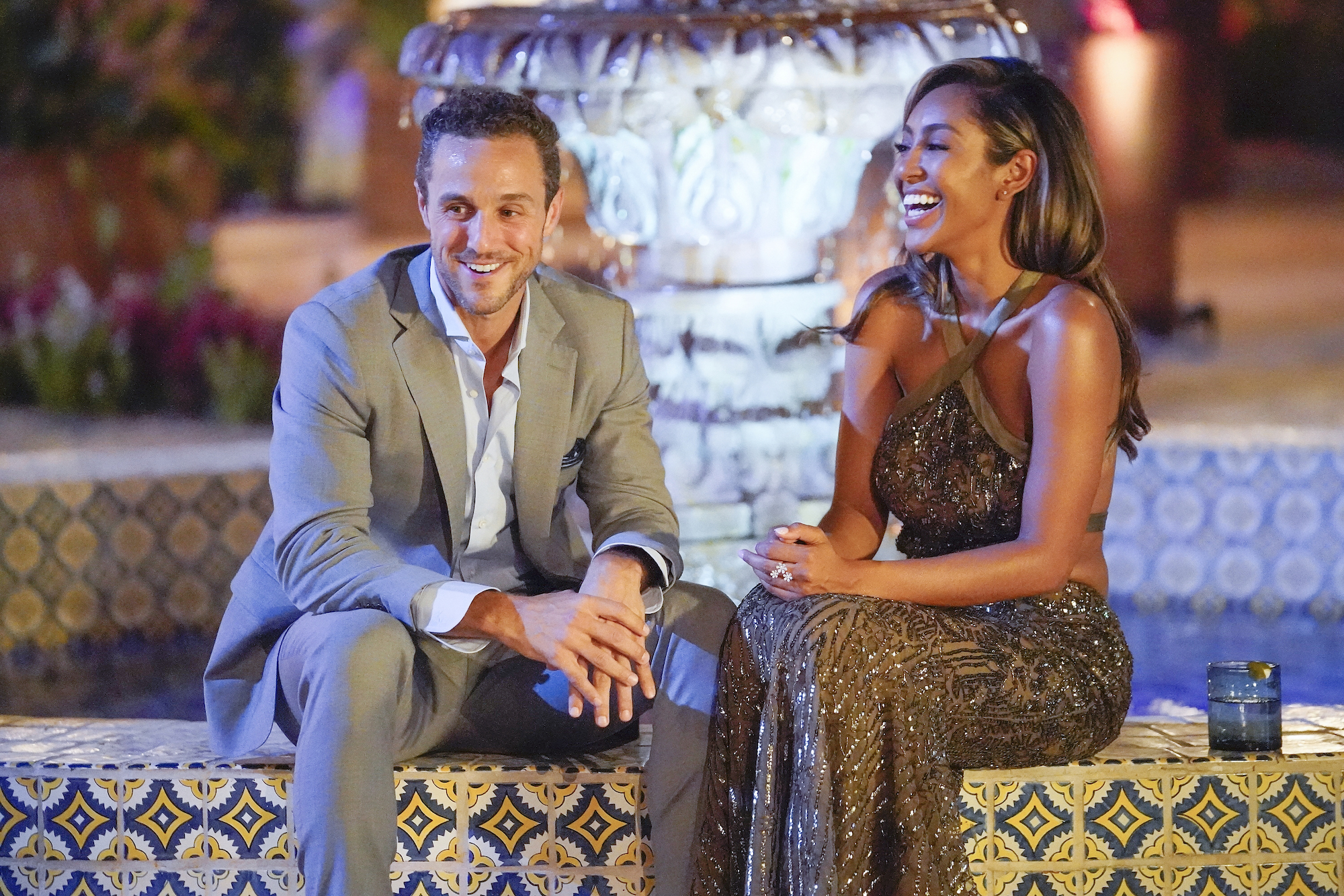 Tayshia Adams and Zac C. on her first night as the new Bachelorette on 'The BACHELORETTE.'