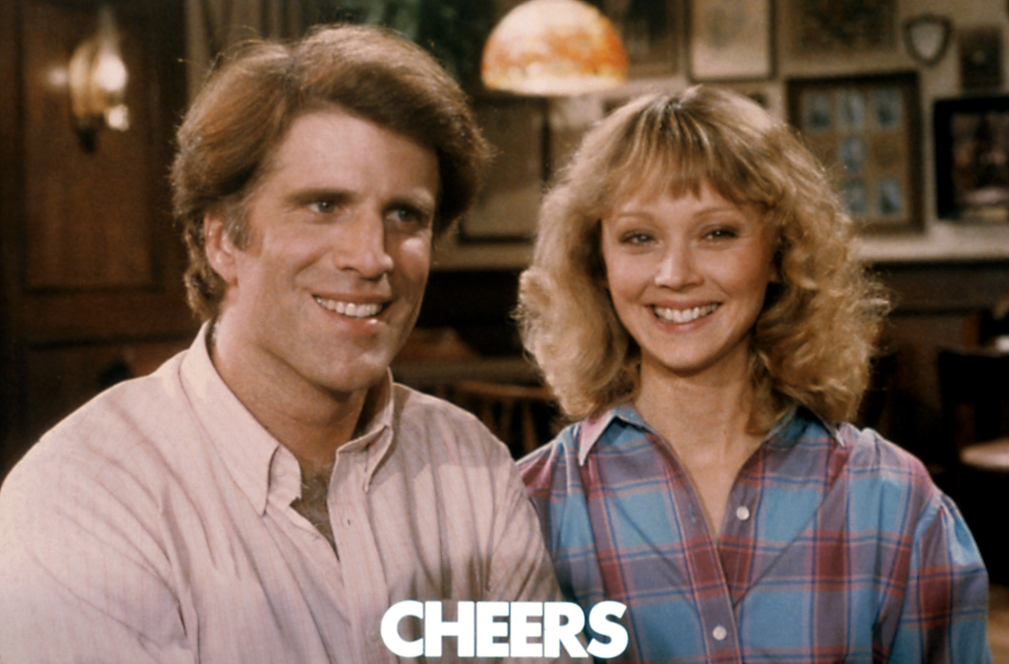 Ted Danson as Sam Malone, Shelley Long as Diane Chambers on Cheers