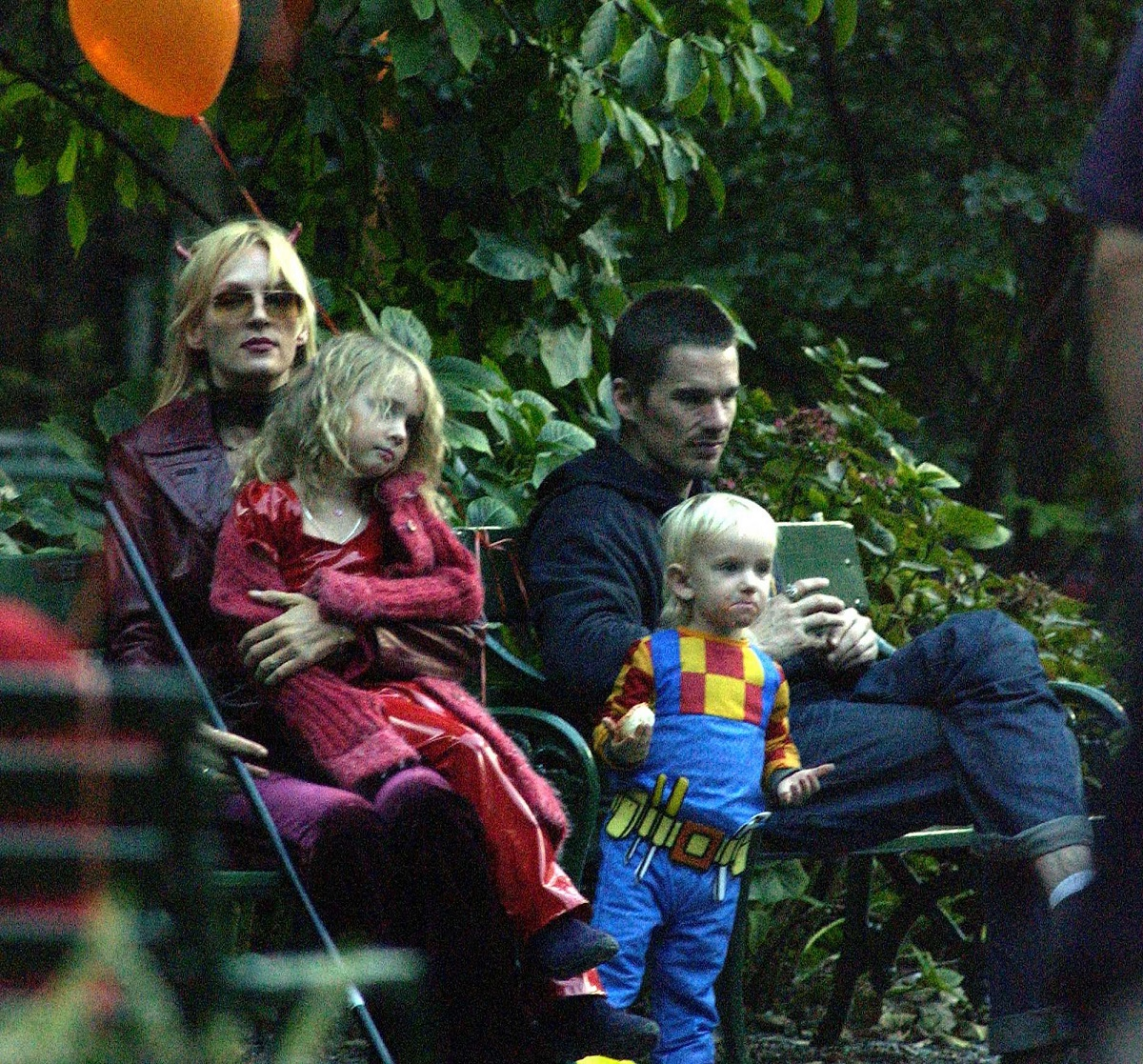 Ethan Hawk visits Uma Thurman and his kids for Halloween on October 31, 2003, in New York City.
