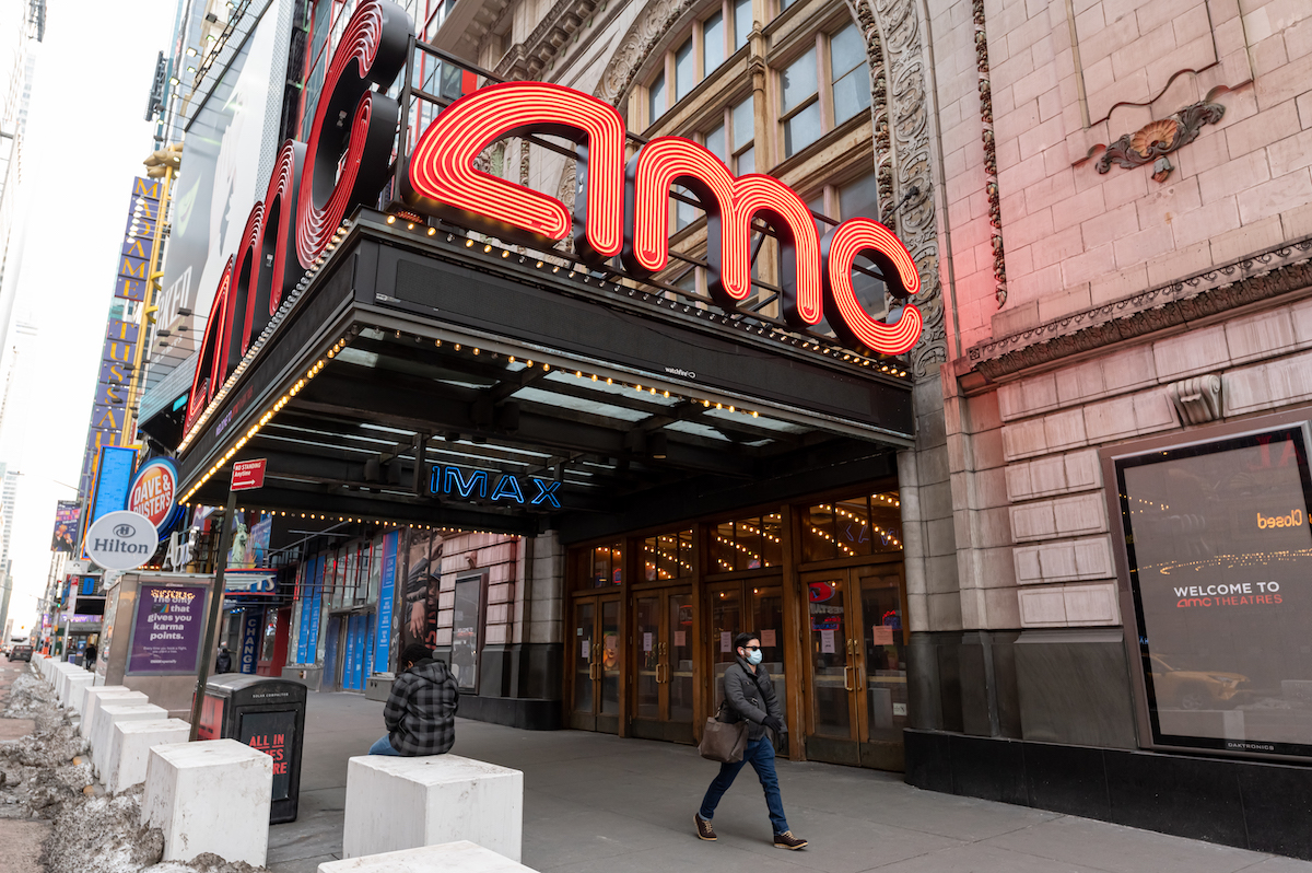 The AMC Empire 25 movie theater in Times Square in New York City