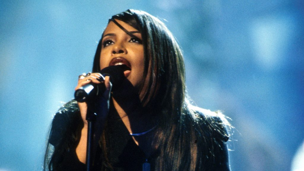 Aaliyah during a performance