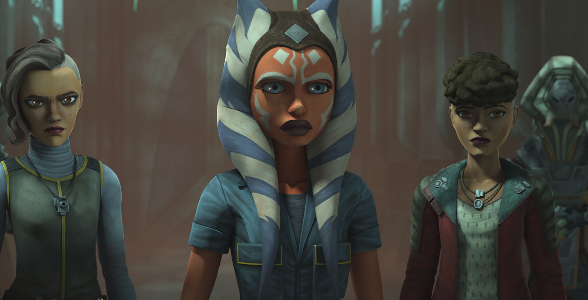 Ahsoka Tano with the Martez sisters in Season 7 of 'Star Wars: The Clone Wars'