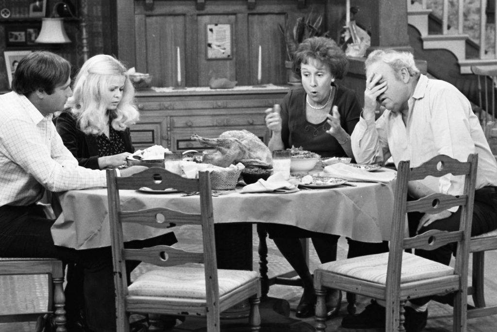 Rob Reiner, Sally Struthers, Carroll O'Connor and Jean Stapleton in a scene for 'All in the Family'