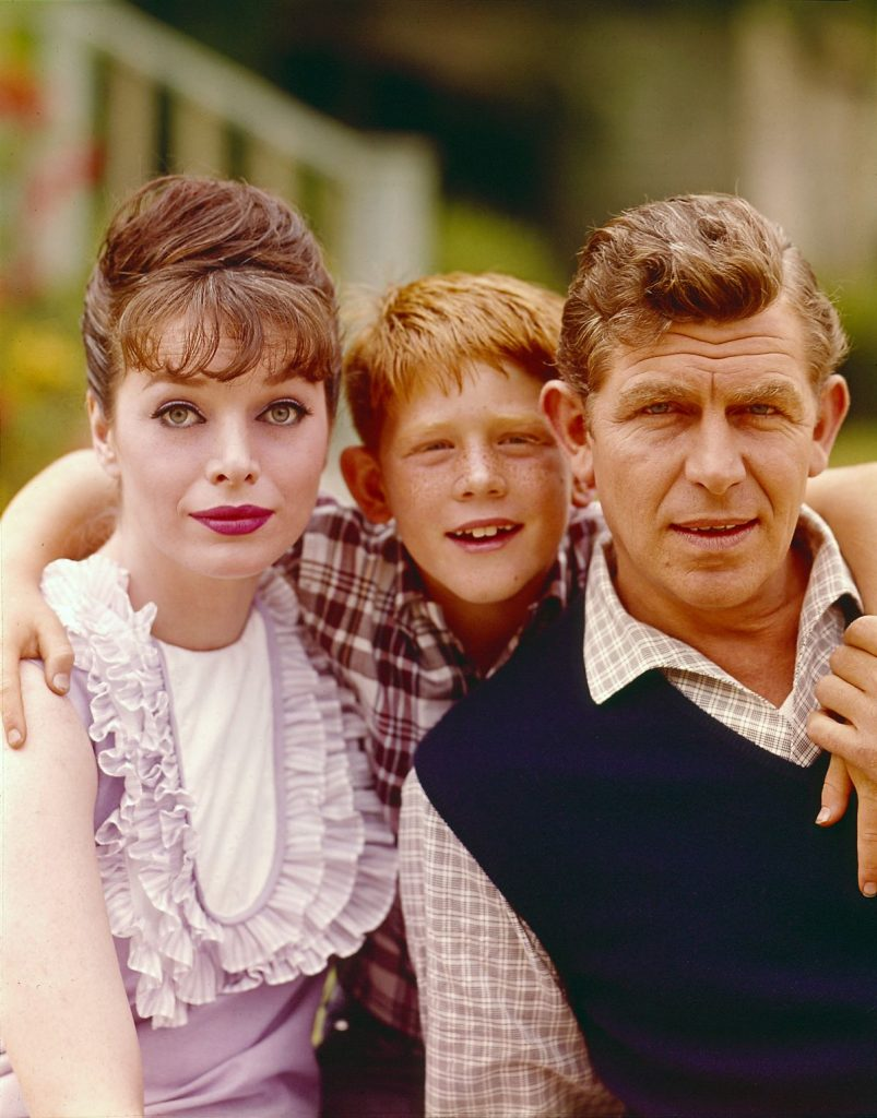 Aneta Corsaut as Helen Crump, Ron Howard as Opie Taylor and Andy Griffith as Sheriff Andy Taylor