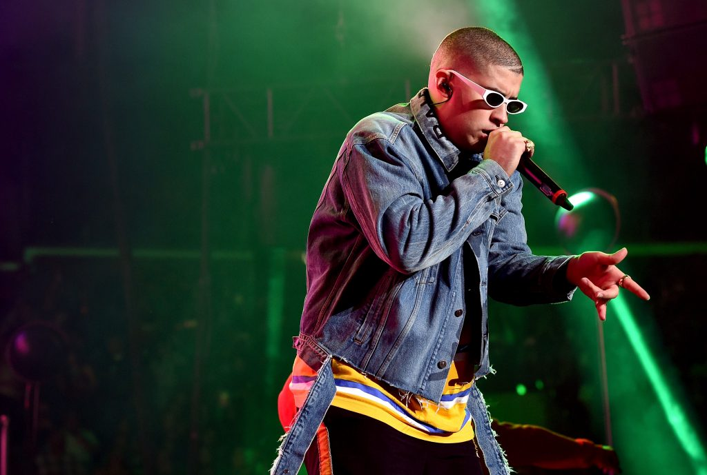 Bad Bunny performs onstage during a concert