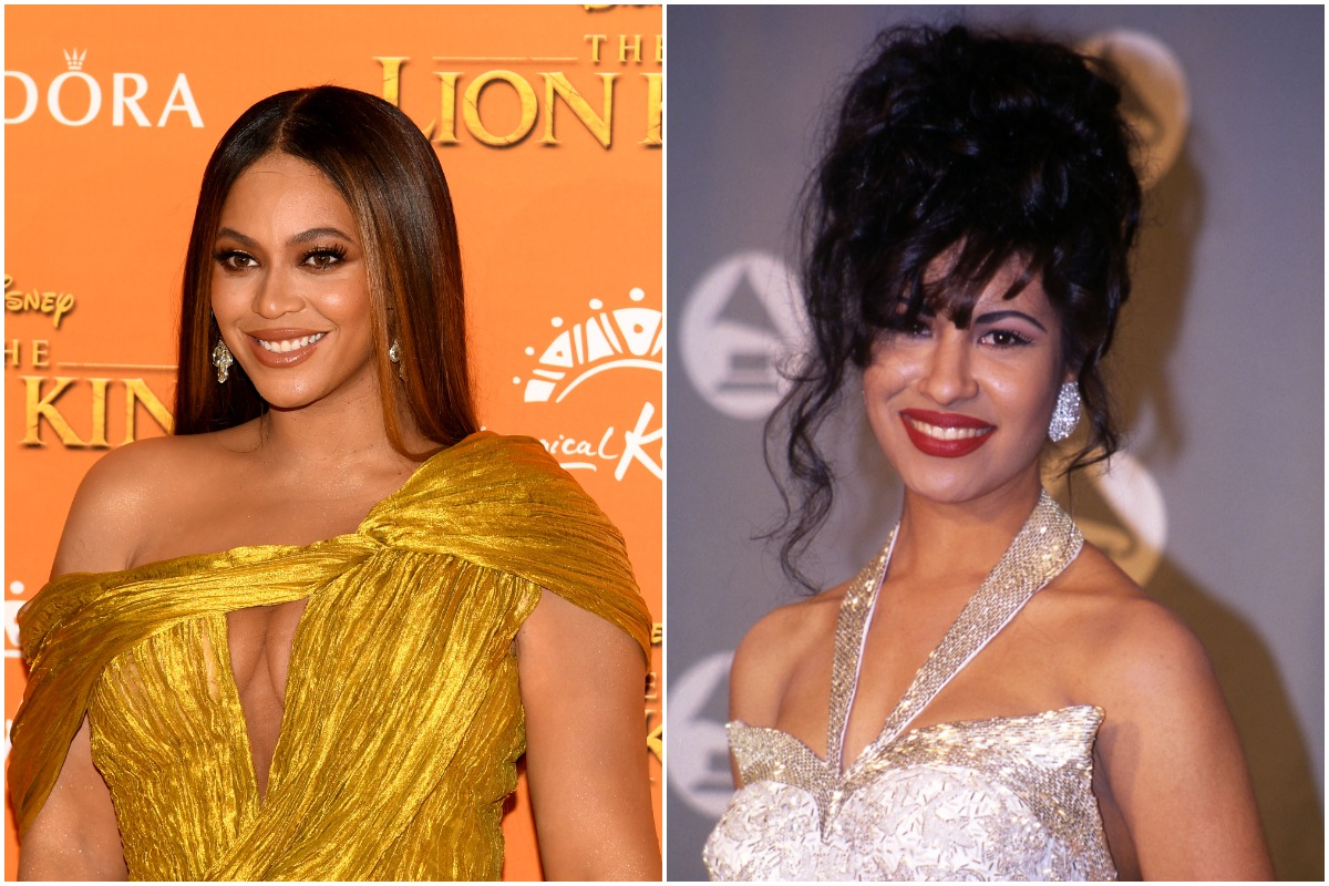 """Beyonce Knowles-Carter attends the European Premiere of Disney's """"The Lion King"""" at Odeon Luxe Leicester Square on July 14, 2019 in London, England./UNITED STATES - MARCH 09: Selena in the press room at the 1994 Grammy Awards in New York City, New York"""