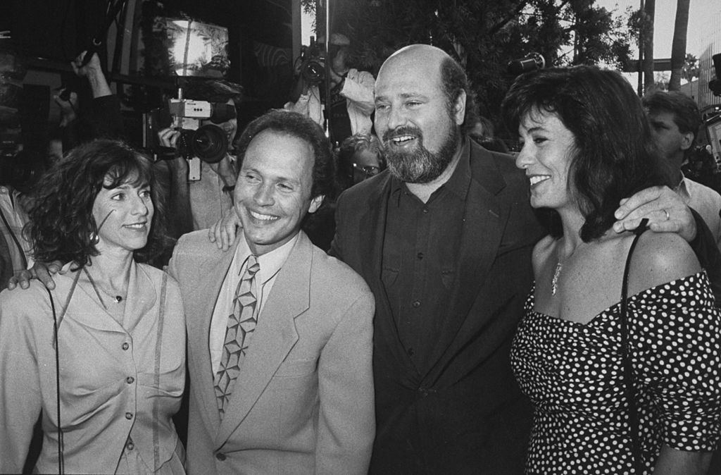 Rob Reiner and his wife Michele Singer, with Billy Crystal and his wife Janice at the premiere of When Harry Met Sally