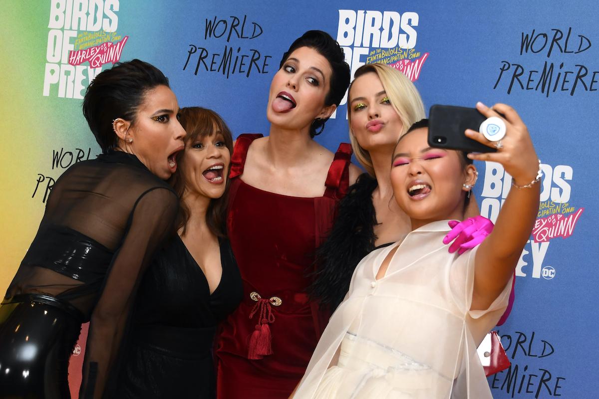 Jurnee Smollett-Bell, Rosie Perez, Mary Elizabeth Winstead, Margot Robbie, and Ella Jay Brasco at the 'Birds of Prey' premiere