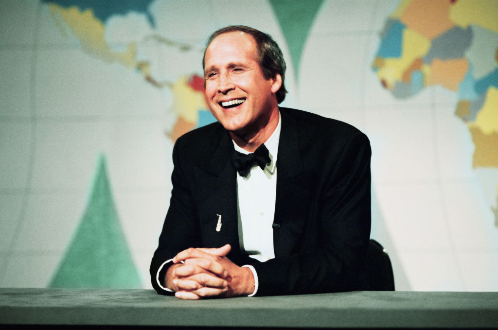 """Chevy Chase during """"Weekend Update"""" on SNL"""