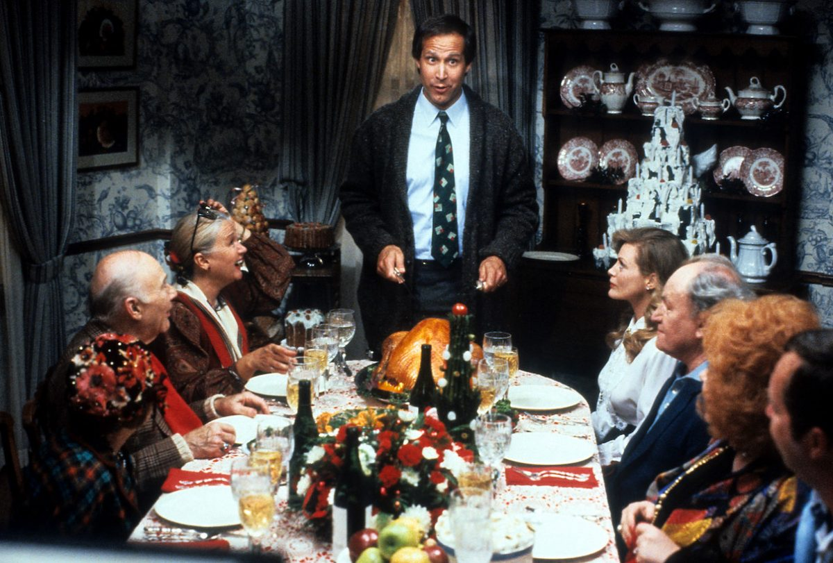 Chevy Chase cuts a turkey as Clark Griswold in 'Christmas Vacation'