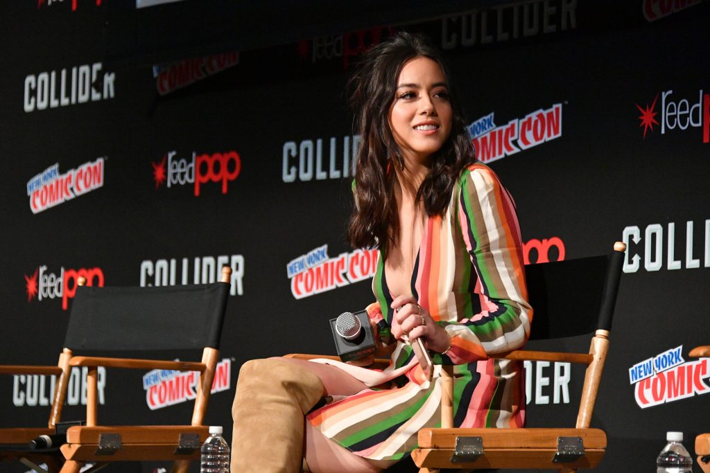 Chloe Bennet answers questions at Comic Con