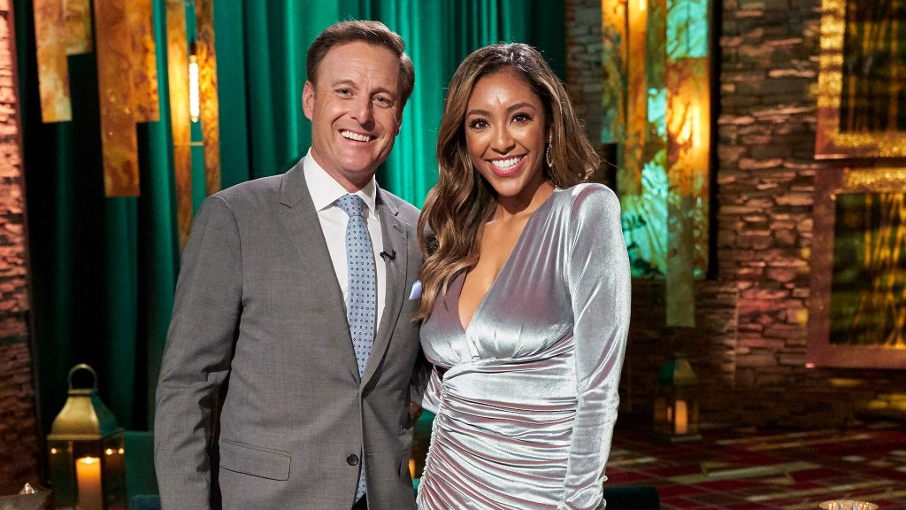 Chris Harrison and Tayshia Adams on 'The Bachelorette' 2020 Men Tell All