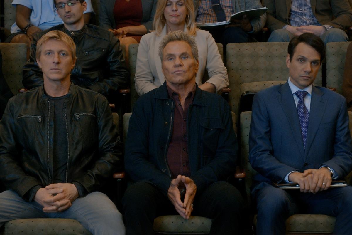 Cobra Kai Season 3: William Zabka, Martin Kove and Ralph Macchio sit together