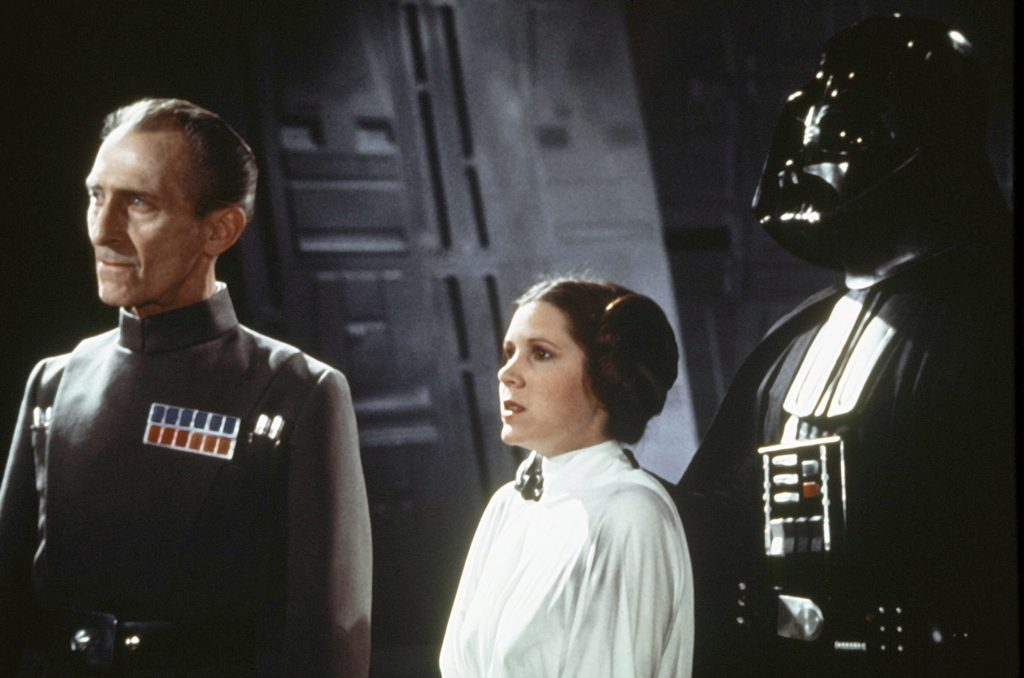Peter Cushing, David Prowse and Carrie Fisher