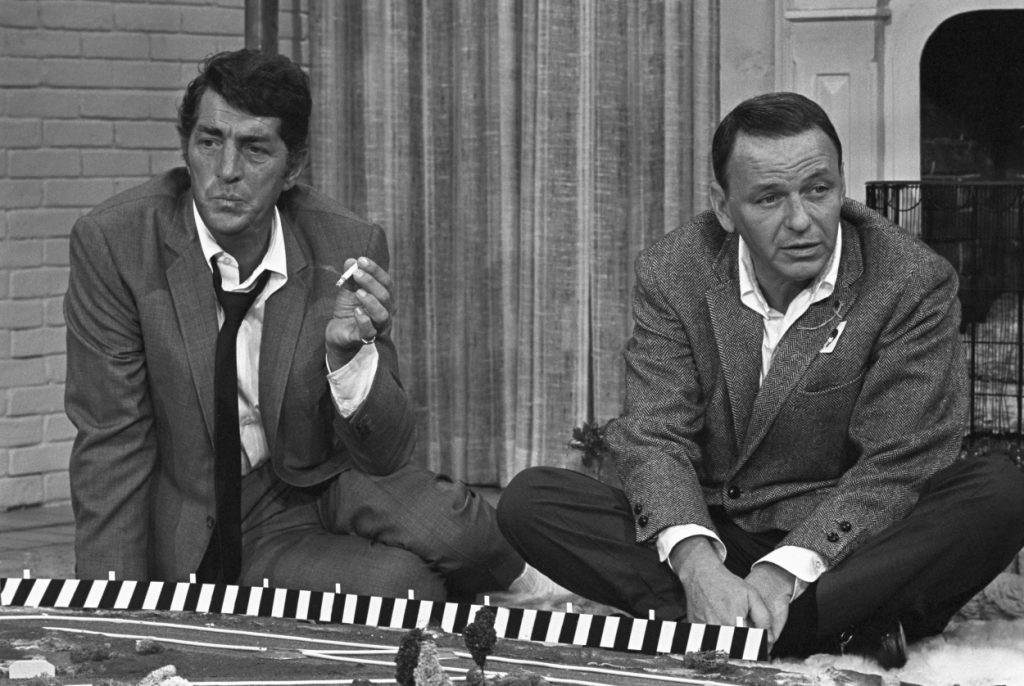 Dean Martin and Frank Sinatra ready to shoot a scene together