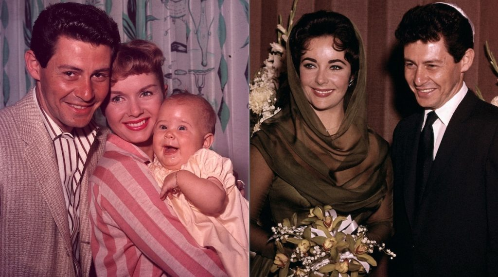 Eddie Fisher, Debbie Reynolds, and Carrie Fisher (L), and Elizabeth Taylor and Eddie Fisher on their wedding day (R) | Hulton Archive/Bettmann/Getty Images