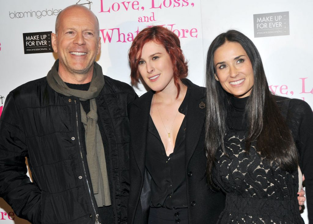 Demi Moore with Bruce Willis and their daughter, Rumer Willis