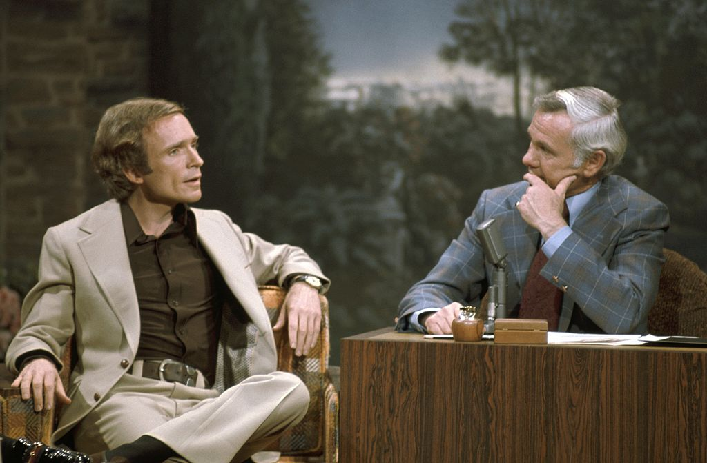 Dick Cavett during an interview with host Johnny Carson on The Tonight Show