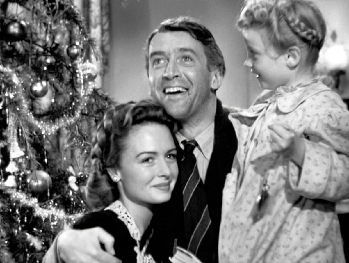 Donna Reed, James Stewart and Karolyn Grimes in 'It's a Wonderful Life'
