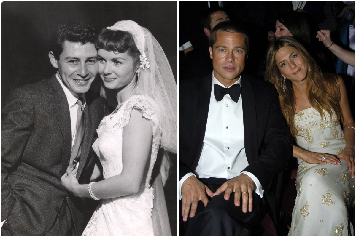Wedding photo of singer and performer Eddie Fisher with actress Debbie Reynolds, wearing wedding gown, Grossinger, NY, 1955/ Brad Pitt and Jennifer Aniston *Exclusive*