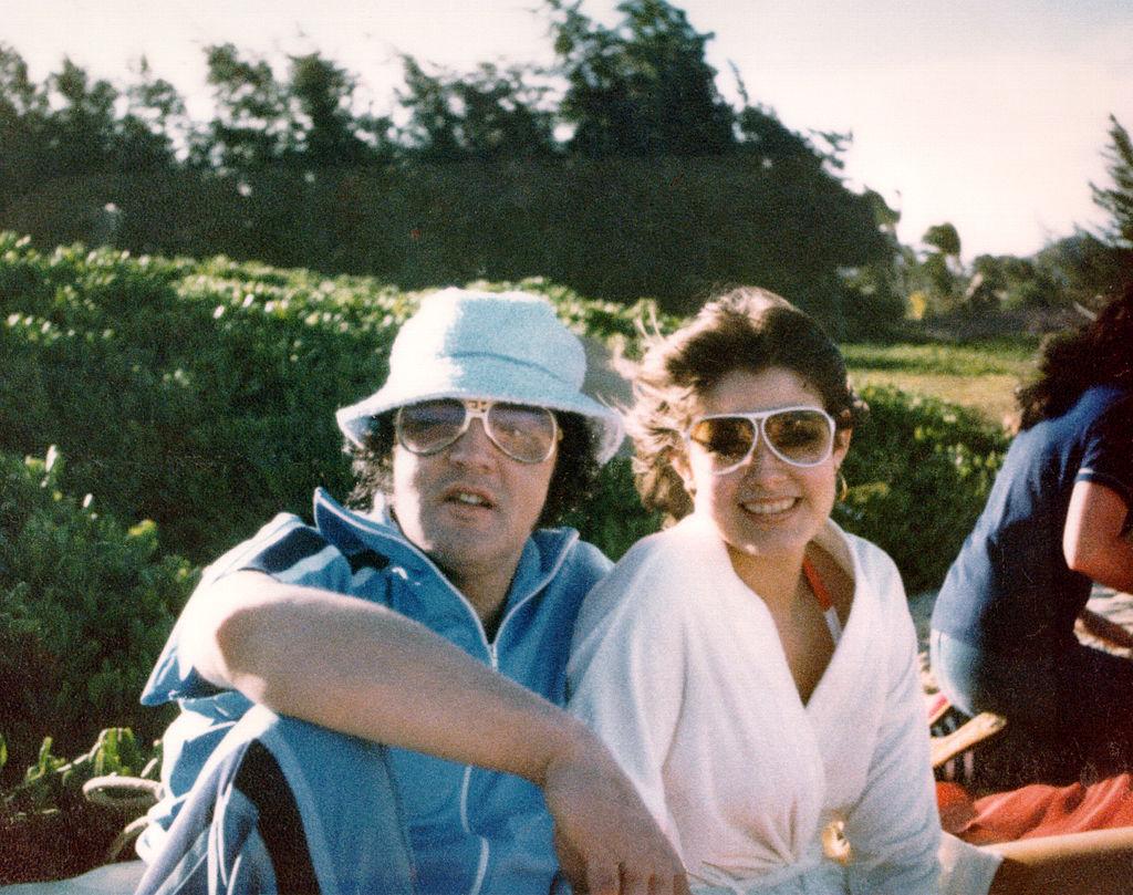 Elvis Presley with his girlfriend, Ginger Alden, in March 1977