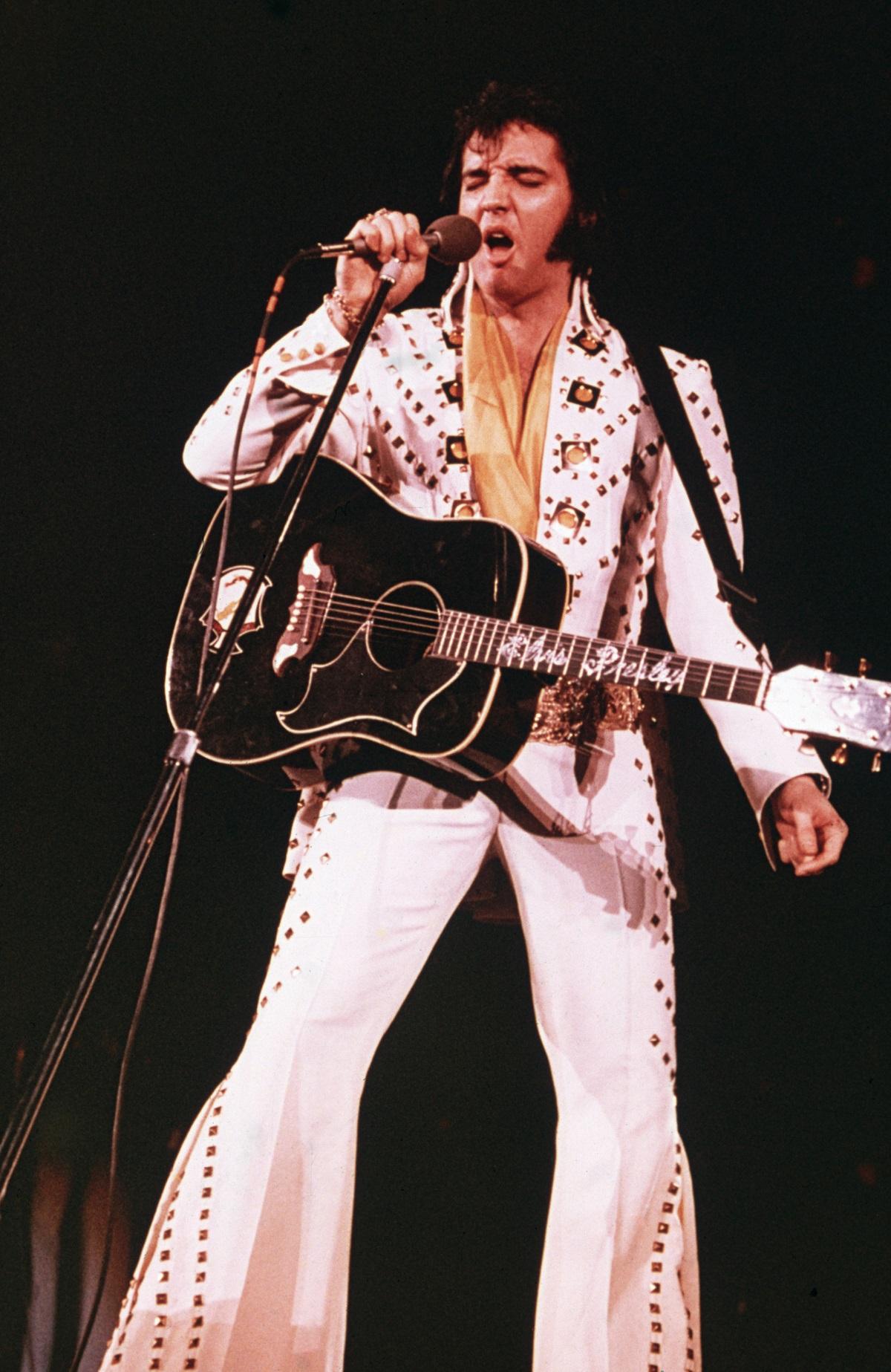 Elvis Presley performing in 1975
