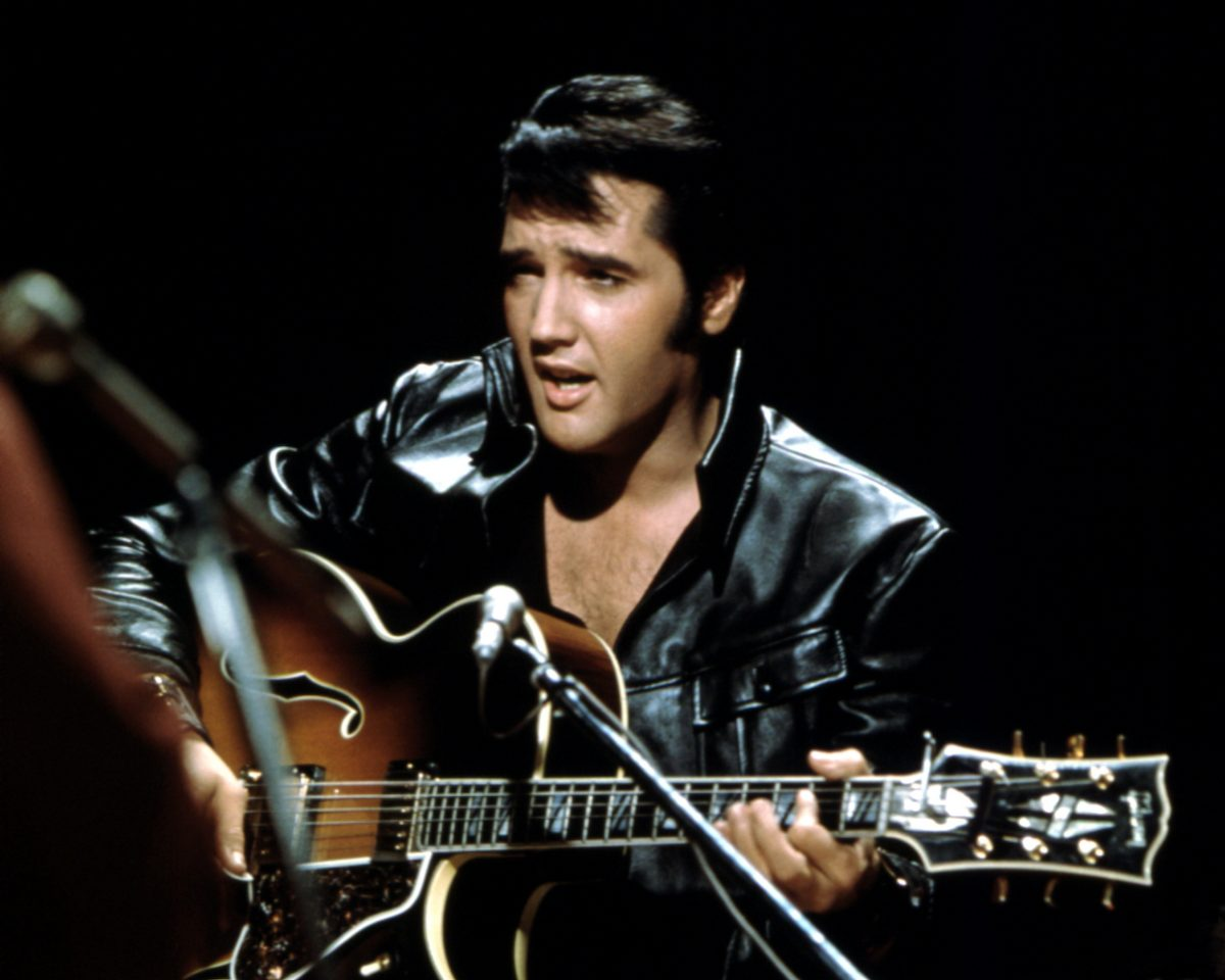 Elvis Presley performing during a TV special
