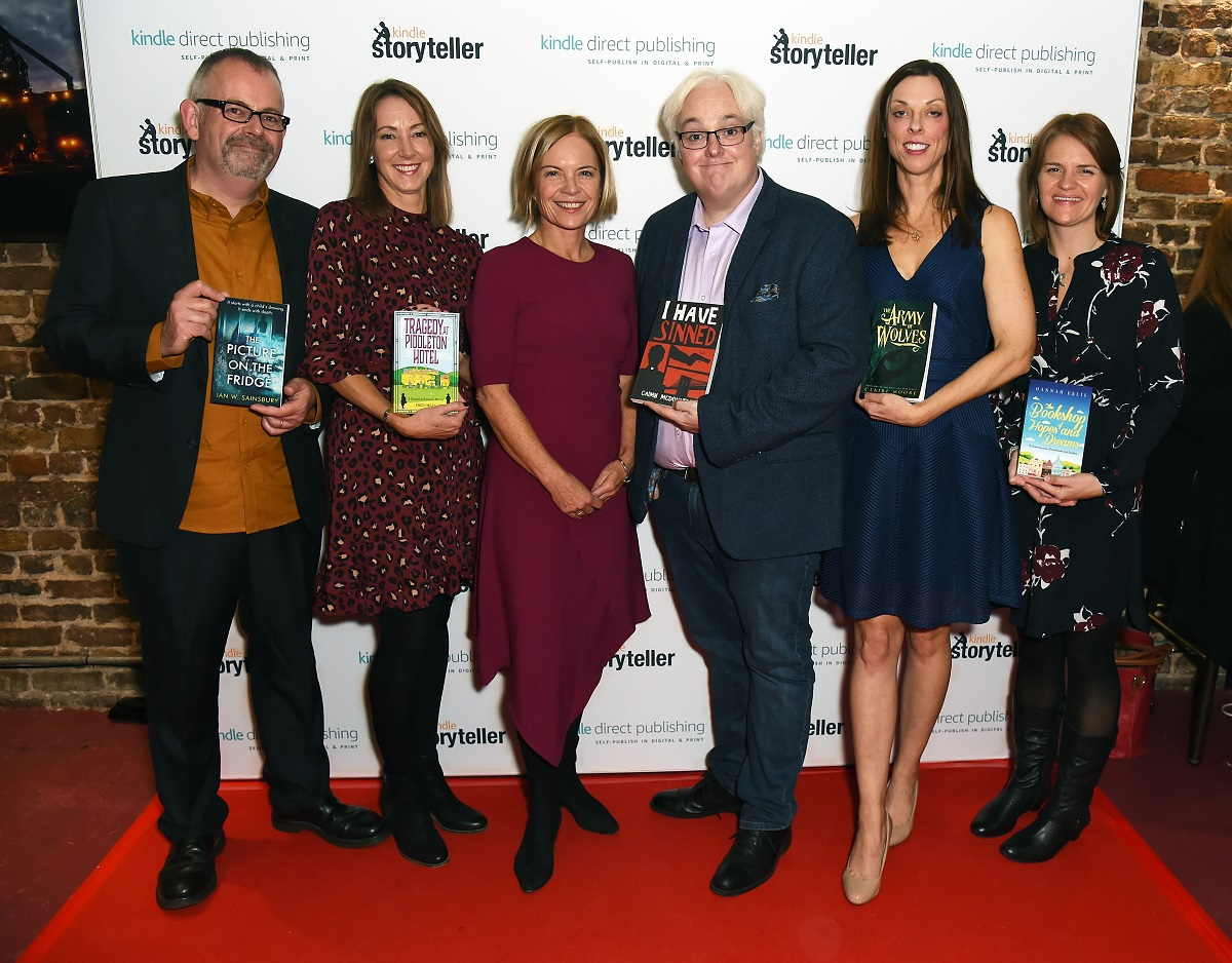 Ian W.Sainsbury, Emily Organ, Mariella Frostrup, Caimh McDonnell, Claire Moore, and Hannah Ellis at the Kindle Storyteller Award 2019 event