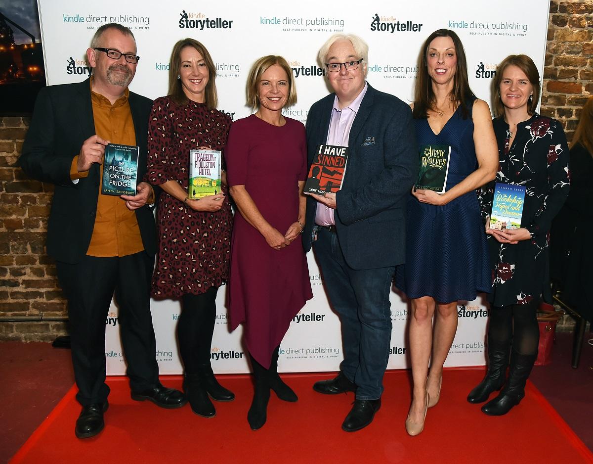 Ian W.Sainsbury, Emily Organ, Mariella Frostrup, Caimh McDonnell, Claire Moore, and Hannah Ellis at the Kindle Storyteller Award 2019 event