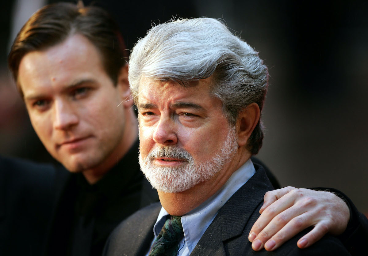George Lucas and Ewan McGregor at the UK premiere of 'Star Wars: Episode III -- Revenge Of The Sith'