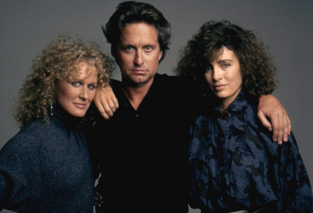 Glenn Close, Michael Douglas and Anne Archer on the set of Fatal Attraction directed by British Adrian Lyne.