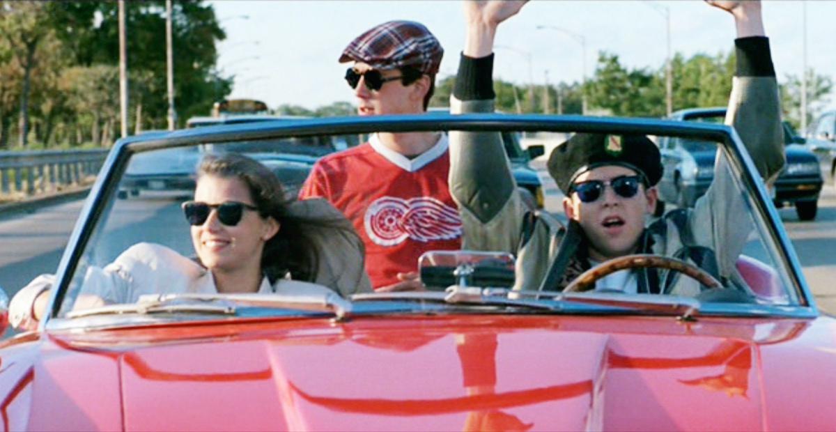 Mia Sara as Sloane Peterson, Alan Ruck as Cameron Frye, and Matthew Broderick as Ferris Bueller