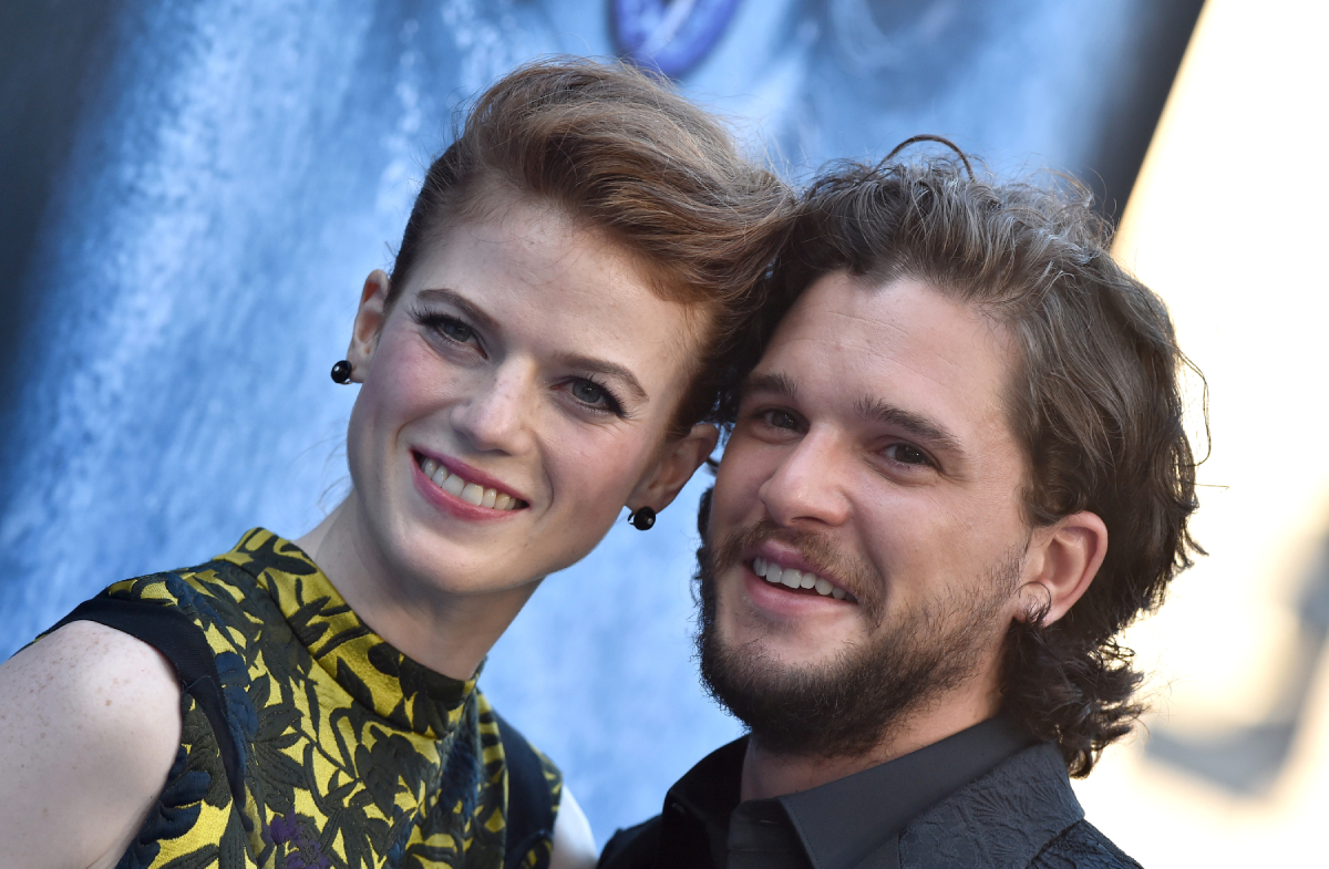 Rose Leslie and Kit Harington arrive at the premiere of HBO's 'Game Of Thrones' Season 7 at Walt Disney Concert Hall on July 12, 2017
