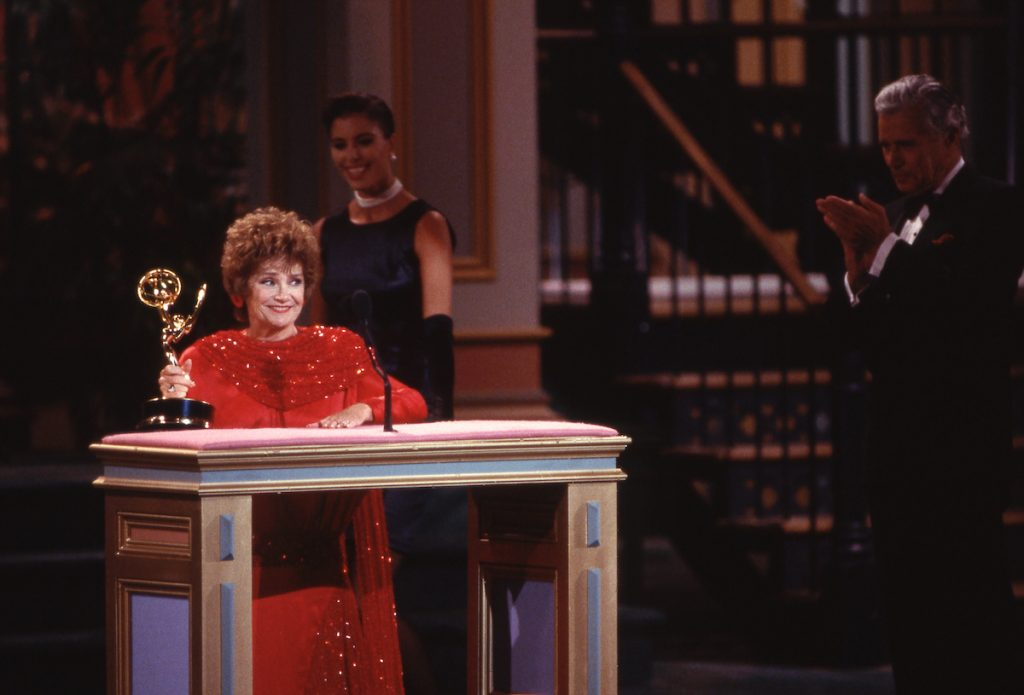 Estelle Getty with an Emmy Award onstage at The 40th Primetime Emmy Awards on August 28, 1988 at Pasadena Civic Auditorium in Pasadena, California | Craig Sjodin/Walt Disney Television via Getty Images