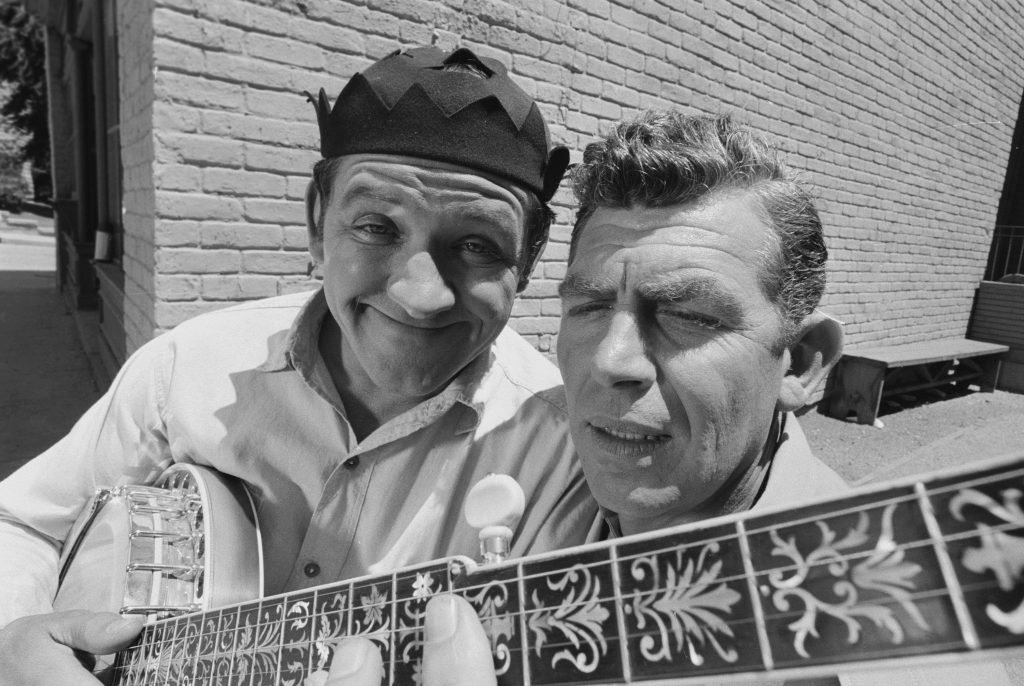 George Lindsey, left, with Andy Griffith
