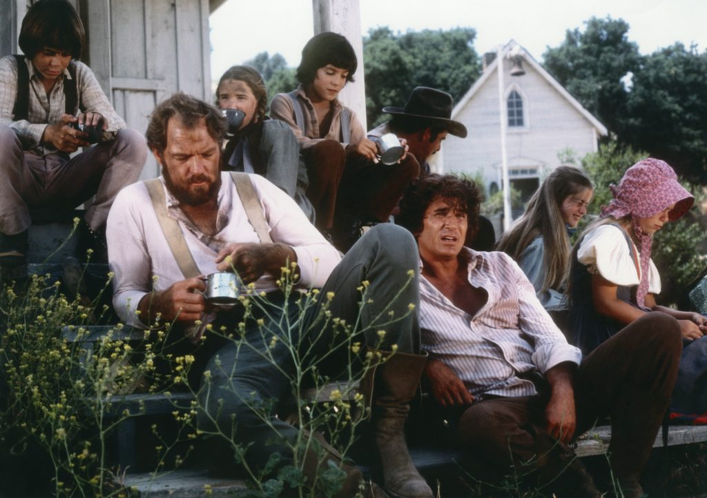 Michael Landon (right) on the set of 'Little House on the Prairie'