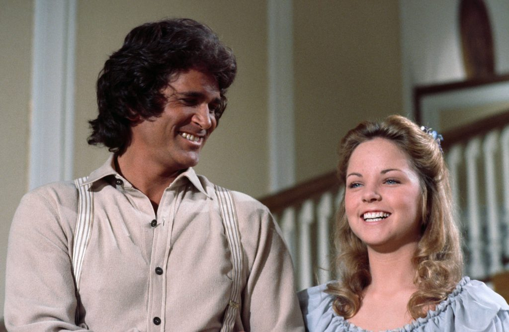 Michael Landon and Melissa Sue Anderson on 'Little House on the Prairie,' 1977