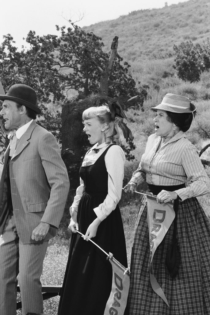 Alison Arngrim, center, with her 'Little House on the Prairie' parents Richard Bull, left, and Katherine MacGregor, right, 1978