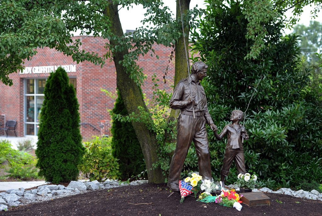 Statue of Andy Griffith and Ron Howard's characters from 'The Andy Griffith Show' in Mount Airy, North Carolina