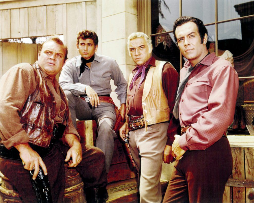 Michael Landon, second from left, with the cast of 'Bonanza', 1965
