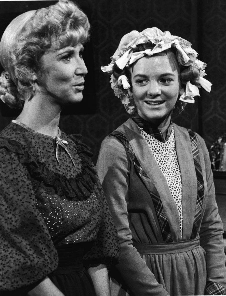 Alison Arngrim, right, in a scene from 'Little House on the Prairie'